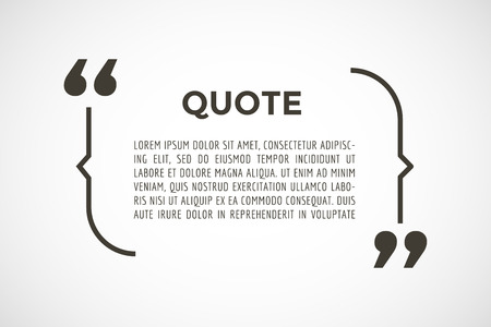 Quote tekst zeepbel. Komma's, nota, bericht, spatie, sjabloon, tekst, gemarkeerd, tag en commentaar of info, sticker, zeggen citeert, informatie. Vector stock element voor ontwerp Stock Illustratie