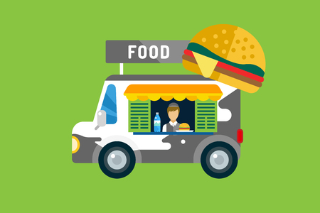 meat grilled: Fast food car icon. Meat grilled product, hot dogs, hamburger, auto transport, transportation, mobile restaurant, fast food, lunch time. Design elements.  Isolated on green
