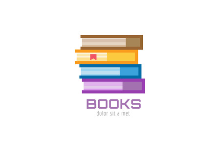 videobook: Book template logo icon. Back to school. Education, university, college symbol or knowledge, books stack, publish, page paper. Design element. Isolated on white