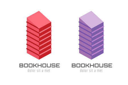 publish: Book skyscraper template logo icon. Back to school. Education, university, college symbol or knowledge, books stack, publish, page paper. Design element. Isolated on white