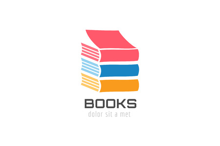 book reader: Book skyscraper template logo icon. Back to school. Education, university, college symbol or knowledge, books stack, publish, page paper. Design element. Isolated on white