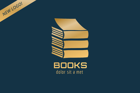 publish: Book template logo icon. Back to school. Education, university, college symbol or knowledge, books stack, publish, page paper. Design element