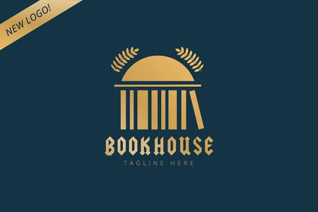 biblioteca: Casa del libro insignia de la plantilla icono. De vuelta a la escuela. Educación, Universidad, símbolo o conocimiento universitario, libros de pila, publicar, papel página. Elemento de diseño Vectores