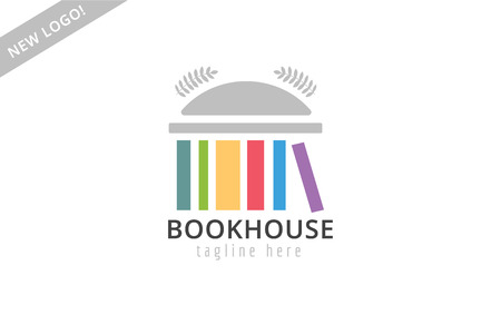 electronic book: Book building template logo icon. Back to school. Education, university, college symbol or knowledge, books stack, publish, page paper. Design element. Isolated on white