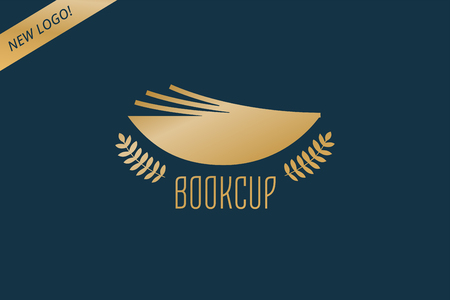 videobook: Book cup template logo icon. Back to school. Education, university, college symbol or knowledge, books stack, publish, page paper. Design element