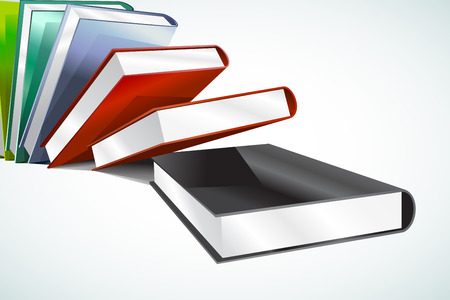 videobook: Book 3d vector illustration isolated on white. Back to school. Education, university, college symbol or knowledge, books stack, publish, page paper. Design element Illustration