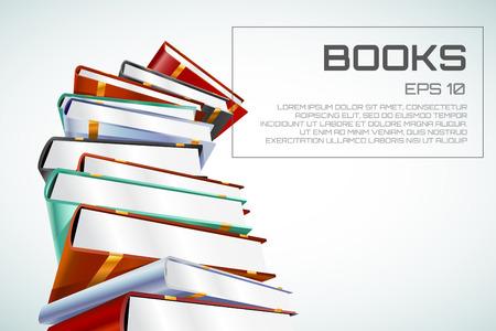 書籍の 3 d ベクトル イラスト白で隔離。学校に戻る教育、大学、大学のシンボルまたは知識、書籍のスタックを公開、ページのペーパー。デザイン