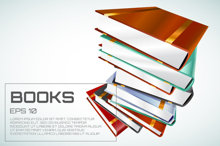 the white back: Book 3d vector illustration isolated on white. Back to school. Education, university, college symbol or knowledge, books stack, publish, page paper. Design element Vectores
