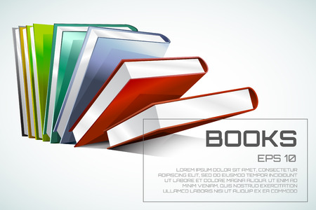 digital library: Book 3d vector illustration isolated on white. Back to school. Education, university, college symbol or knowledge, books stack, publish, page paper. Design element Illustration