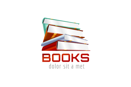 epublishing: Book template logo icon. Back to school. Education, university, college symbol or knowledge, books stack, publish, page paper. Design element. Isolated on white