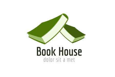 videobook: Book house roof template logo icon. Back to school. Education, university, college symbol or knowledge, books stack, publish, page paper. Design element. Isolated on white