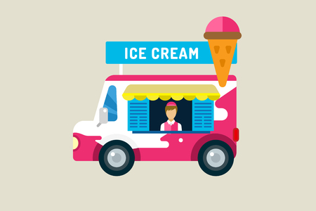 white cream: Ice cream car icon. Cold milk product, vanilla symbol, auto transport, transportation, mobile restaurant, fast food, kids desserrt. Design elements.  Isolated on white Illustration