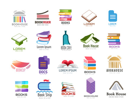 school books: Book vector logo template set. Back to school. Education, university, college symbol or knowledge, books stack, publish, page paper. Design element. Isolated on white Illustration