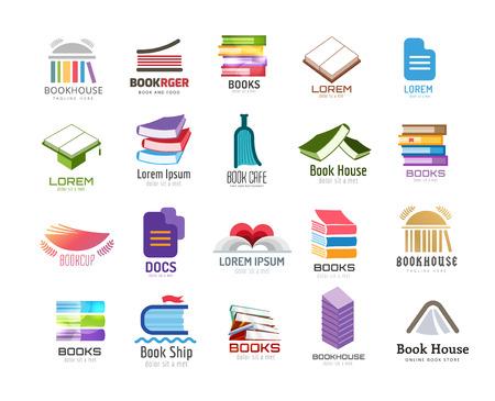 book: Kniha vektorové logo šablony nastavit. Zpátky do školy. Vzdělávání, univerzita, vysoká škola nebo symbol poznání, knížky zásobník, publikovat, strana papír. Designovým prvkem. Samostatný na bílé