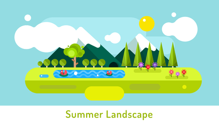 eco tourism: Abstract outdoor summer landscape. Trees and nature signs or outdoor, mountains, river or lake, sun, clouds, flowers, cave. Design elements