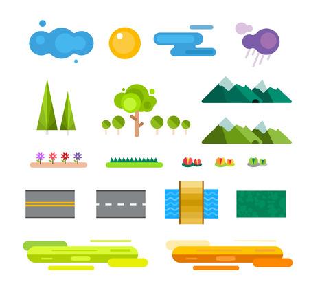 Abstract landschap constructeur iconen set. Gebouwen, huizen, bomen en architectuur borden kaart, spel, textuur, bergen, rivier, zon. Design element. Geïsoleerd op wit Stock Illustratie