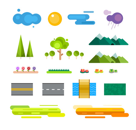 Abstract landscape constructor icons set. Buildings, houses, trees and architecture signs for map, game, texture, mountains, river, sun. Design element. Isolated on white