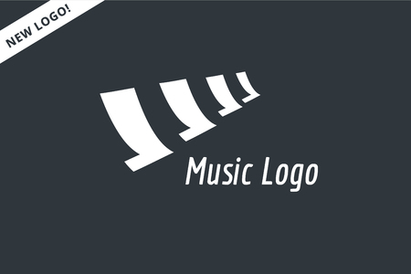 abstract melody: Abstract music piano keys logo icon. Melody, classic, note symbol or paper, book, song. Design element. Isolated on white Illustration