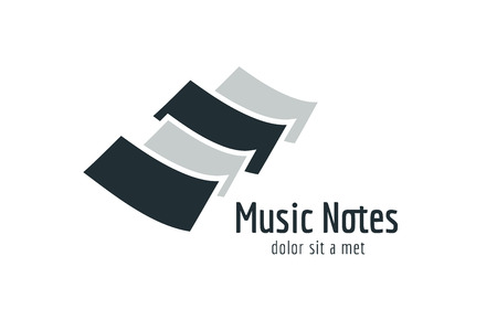 abstract melody: Abstract music piano keys logo icon. Melody, classic, note symbol or paper, book, song. Design element. Isolated on black Illustration