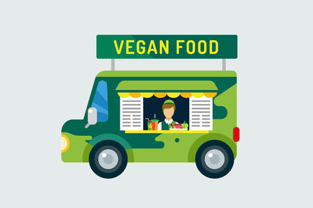 food icons: Vegan city food car icon. Nature product, vitamin symbol, auto restaurant, mobile kitchen, hot fastfood, green vegetables. Design elements.  Isolated on white Illustration