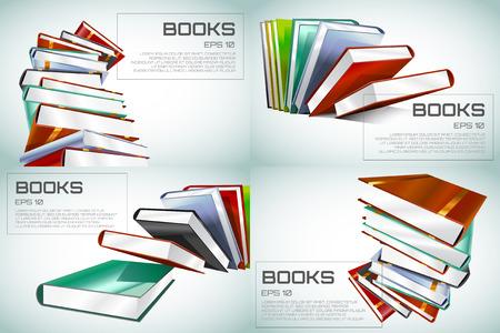biblioteca: Libro ilustración vectorial 3d aislado en blanco. De vuelta a la escuela. Educación, Universidad, símbolo o conocimiento universitario, libros de pila, publicar, papel página. Elemento de diseño