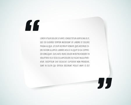 Quote text bubble. Commas, note, message and comment, template, design element. Vector object isolated on white