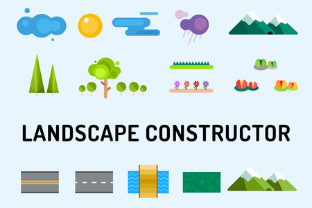 mountain view: Abstract landscape constructor icons set. Buildings, houses, trees and architecture signs for map, game, texture, mountains, river, sun. Design element. Isolated on white