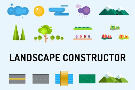 sol caricatura: Resumen iconos constructor paisaje establecen. Edificios, casas, árboles y señales de arquitectura para mapa, juego, textura, montañas, río, sol. Elemento de diseño. Aislado en blanco
