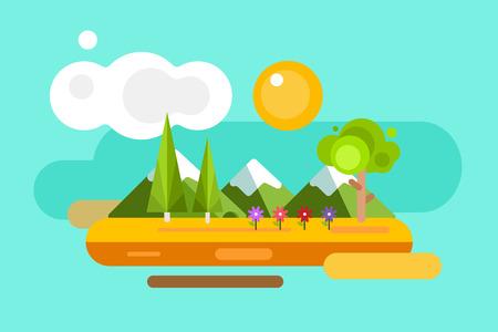 Astratto paesaggio estivo all'aperto. Alberi e segni della natura o all'aperto, sulle montagne, fiume o lago, sole, nuvole, fiori, grotta. Elementi di design Archivio Fotografico - 43202191