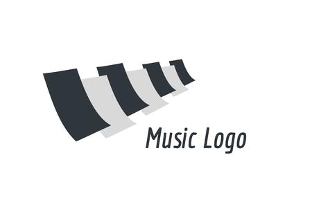 Tasti di pianoforte Musica icona logo del modello. Melody, classico, simbolo della nota o di carta, libro, canzone jazz, pulsanti reali. Elemento di design Archivio Fotografico - 43202194