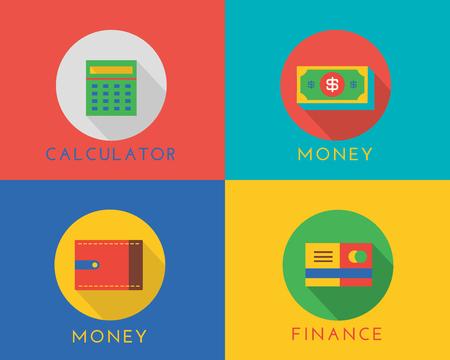 finanse: E-commerce money vector logo icons set. Shop, money or commerce and mobile payment, finance, calculator, dollar, credit card. Stocks design elements. Illustration