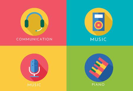 radio dj: Music vector logo icons set. Player, piano, sound, microphone and headphone, radio. Keys or buttons, dj party, note music icons. Vector logo. Stocks design elements