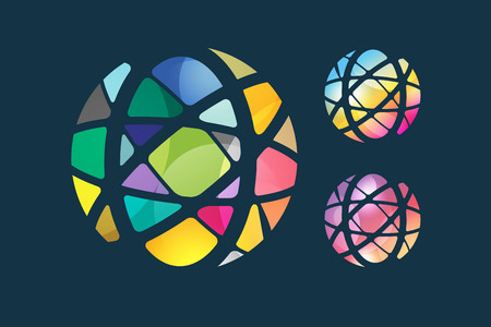 Vector globe abstract logo template. Circle round shape and earth symbol, geometric icon, creative idea or flow, lines, web net. Company logotype. Stock illustration Illustration