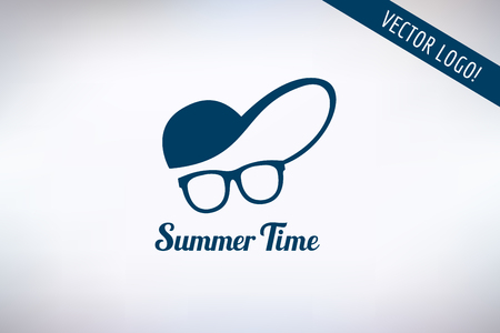 handsome boys: Face with glasses and cap logo icon template. Hipster, summer, man head or travel, young, beauty fashion. Design element