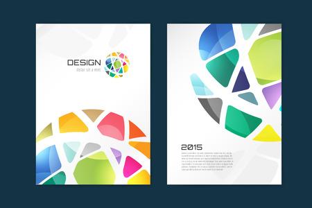 벡터 글로브 브로셔 템플릿입니다. 추상 화살표 디자인과 창조적 인 잡지 아이디어, 빈, 책 표지 또는 배너 서식, 논문, 저널. 재고 일러스트 레이 션