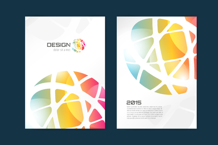 Vector globe brochure template. Abstract arrow design and creative magazine idea, blank, book cover or banner template, paper, journal. Stock illustration Illustration