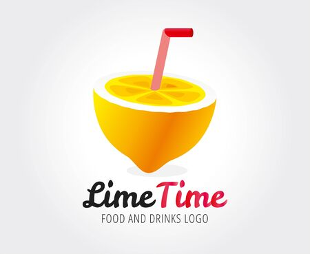 Lime or lemon fruit slice and logo icon template design. Fresh, juice, drink, yellow, splash, vegetarian, cold. Stock vector. Design elements. Isolated on white