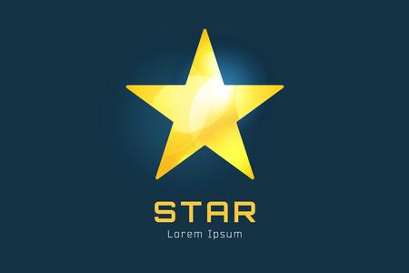 lucero: Estrella icono vector logo. Líder, jefe, ganador, rango o competencia y símbolo de brillo. Elemento de diseño Vectores