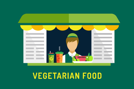 food shop: Vegetarian city food shop object icons. Nature product, vitamin symbol, auto restaurant, mobile kitchen, hot fastfood, green vegetables. Design elements. Isolated on green