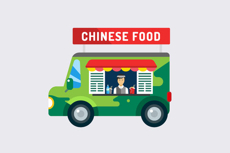 chinese fast food: Objetos de comida r�pida china objetos fijados. Producto c�rnico, coche, m�vil, hombre, fideos, agua, china, noodlies, restaurante m�vil, comida r�pida, la hora del almuerzo. Los elementos de dise�o.
