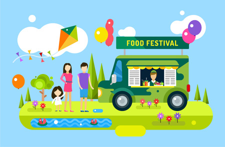 events: Happy family holiday or weekend summer time. Natural healthy food, premium product, car, mobile, man, wooman and girl, mobile restaurant, fast food, lunch time. Design elements Illustration