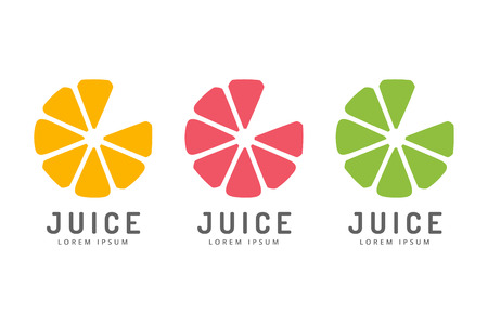 orange slice: Lime or lemon fruit drink logo icon template design. Fresh, juice, drink, yellow, splash, vegetarian, cold. Stock vector