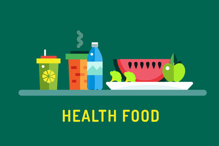 fastfood: Vegetarian city food shop object icons. Nature product, vitamin symbol, auto restaurant, healthy food, hot fastfood, green vegetables. Design elements. Isolated on green Illustration