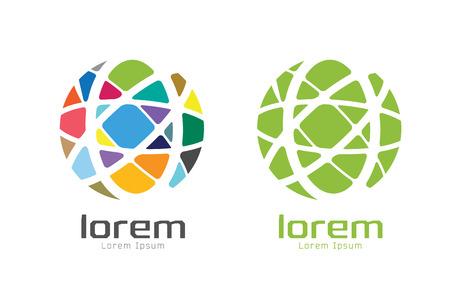 globe terrestre: Vector monde abstrait logo modèle. Cercle forme ronde et le symbole de la terre, géométrique icône, idée créative ou de débit, lignes, web net. logotype de l'entreprise. Illustration