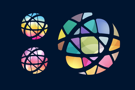 globe: Vector globe abstracte logo template. Cirkel ronde vorm en aarde symbool, geometrisch pictogram, creatief idee of stroom, lijnen, web net. Company logo. Stock illustration