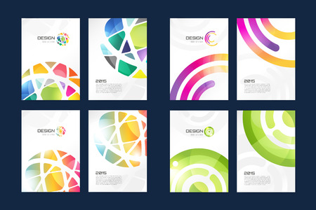 Vector globe brochure template set. Abstract arrow design and creative magazine idea, blank, book cover or banner template, paper, journal. Stock illustration