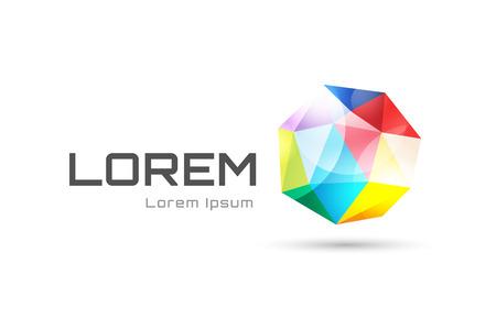 tetraedro: Vector globe logo astratto modello. Tetraedro forma 3d e globo simbolo, icona geometrico, modello a triangolo, le linee, web netto. Logotype dell'azienda. Stock illustration