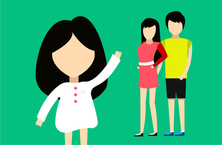 family time: Happy family together. Portret, home, happy. Mother, father, girl. Family time, summer, vacation. Relationships. People cartoon characters