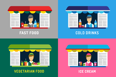 vegetarian hamburger: Fast food restaurants vector objects. Water bottle, juice, eat and ice cream, hamburger, hot dogs or mobile restaurant, lunch time, man silhouette, vegetarian, eco