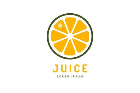 라임 또는 레몬 과일 음료 로고 아이콘 템플릿 디자인. 오렌지 주스. 과일 조각. 신선한 주스 음료, 노란색, 스플래시 채식, 감기. 스톡 벡터